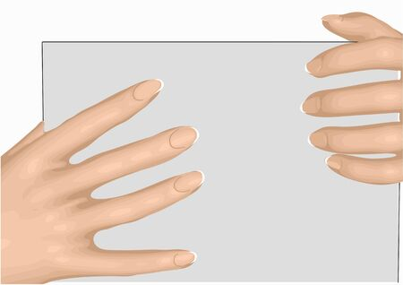 female hands and nails with sheet of paper