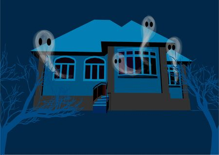 House with the ghosts whith fog and dark trees