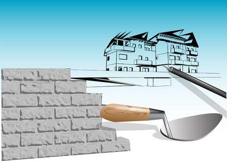 renovation house. concept of handmade construction Çizim