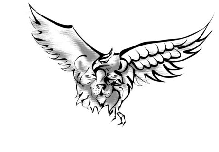 lion and eagle isoalted on white background Stock Illustratie