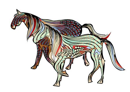 abstract ethnic walking horses on a white background 向量圖像
