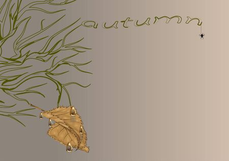 dead branch with a brown autumn leaf Ilustrace