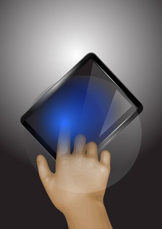phone and hand. abstract hand with tablet
