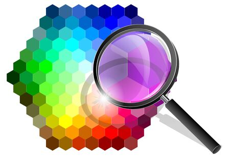 multicolor background with magnifier isolated on white