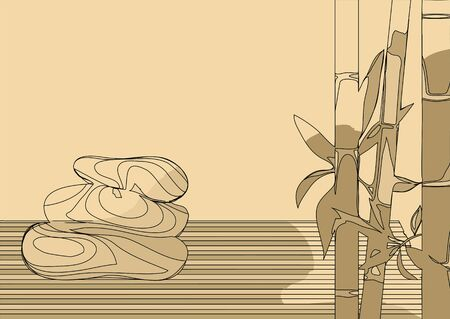 abstract bamboo and stones  on a biege background Ilustrace
