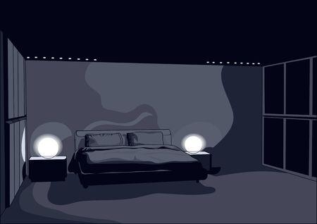 night dark bedroom with light Reklamní fotografie - 132033098