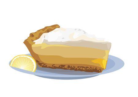lemon pie. Lemmon cake on the plate on whirte background