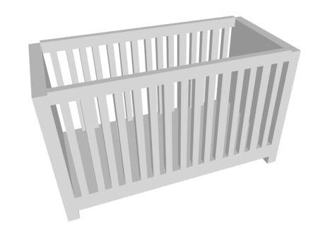 childrens crib isolated on white background Vecteurs