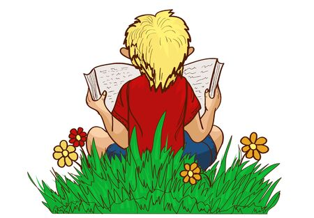 reading. boy sits on grass and read your favorite book 스톡 콘텐츠 - 142087652