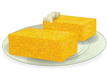 sponge cake on plate isolated on a white background Ilustração
