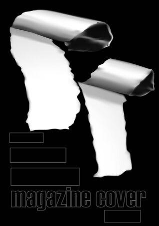 black magazine cover. vector illustration of cover design template Ilustración de vector