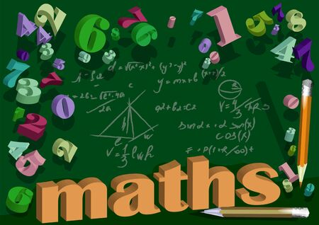 maths background with number. Hand drawn science formulas on green background.