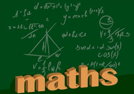 maths background. Hand drawn science formulas on green background.