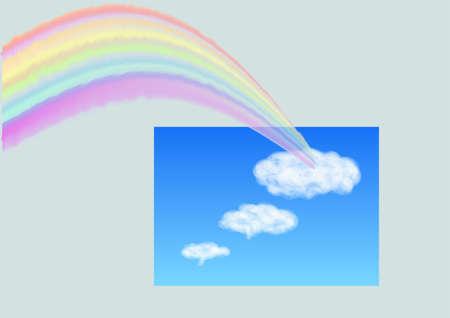 rainbow in the sky with clouds 向量圖像
