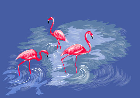 three flamingos on abstract water background