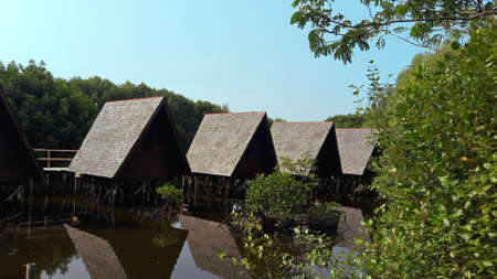 Mangrove forest, Jakarta, Indonesia - September 23, 2018 : Lodging in the tourist area of mangrove forest in the form of a traditional cottage