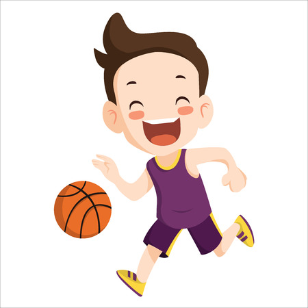 Vector - boy play basketball sport