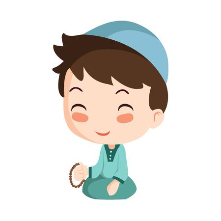 Vector - praying muslim boy Vector Illustration