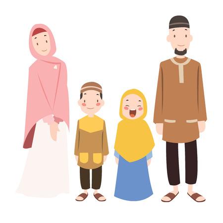 Foto de archivo - musulmanes ilustración de dibujos animados de la familia
