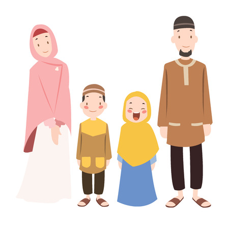 Vector - muslims family cartoon illustration