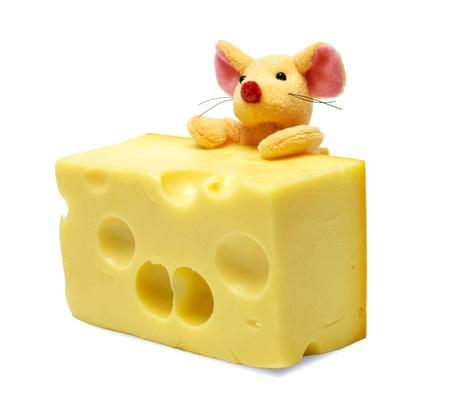 Giocattolo del mouse e fetta di formaggio Archivio Fotografico