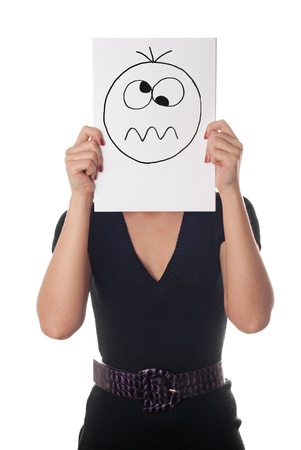 tired cartoon: Young woman with the painted crazy smile on the sheet of paper over his face isolated on white
