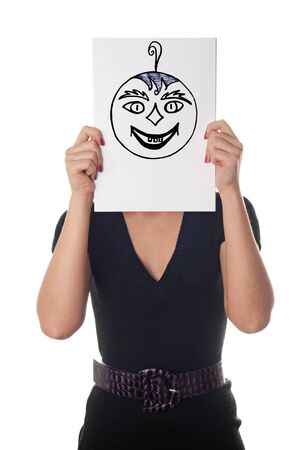 gaily: Young woman with the painted happy and crazy smile on the sheet of paper over his face isolated on white