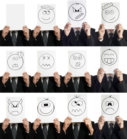 good mood: Compilation (collage ) of man with the painted smiles on the sheet of paper over his face isolated on white