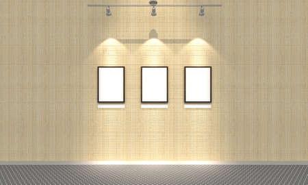 spot: 3d,Blank 3 photo on brick wall 3 spot lighting