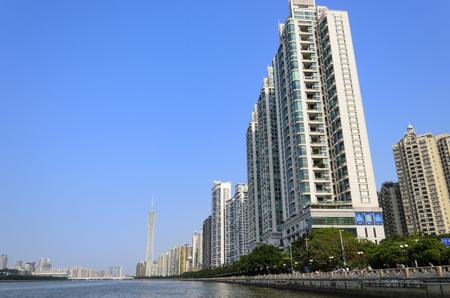 Zhujiang Riverside urban landscape - Pearl River, Guangzhou Canton China.