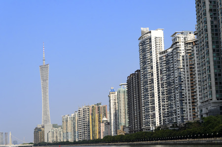 Guangzhou riverside skyscrapers. Stock Photo