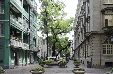 A lovely square at Shamian Island - an old European settlement in Guangzhou China. Editorial