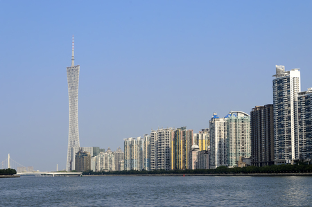 Canton tower and condominium by the water - Guangzhou China.