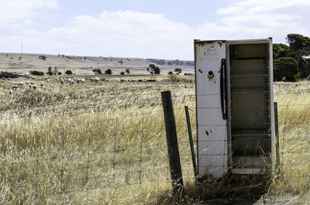 An abandoned refrigerator in Australia outback