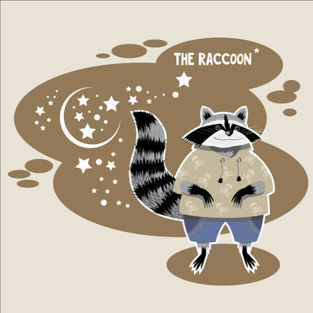 Raccoon in the flat style Illustration