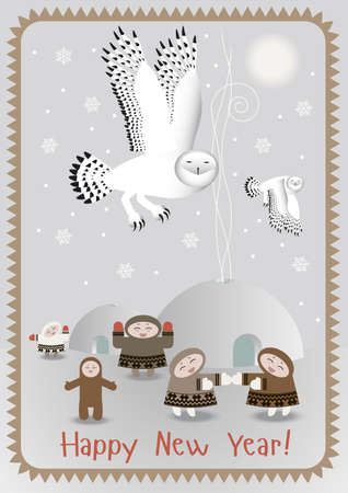 north pole: North Pole postcard with polar owls