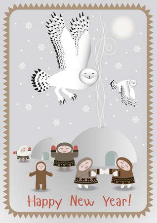esquimales: postal del Polo Norte con los búhos polares