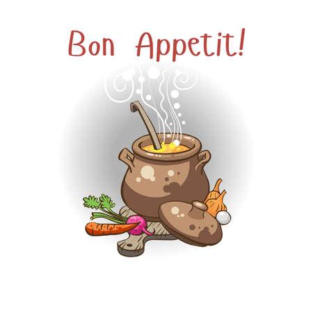 Postal con la imagen de una olla de sopa para la tarjeta de invitación o del menú del restaurante