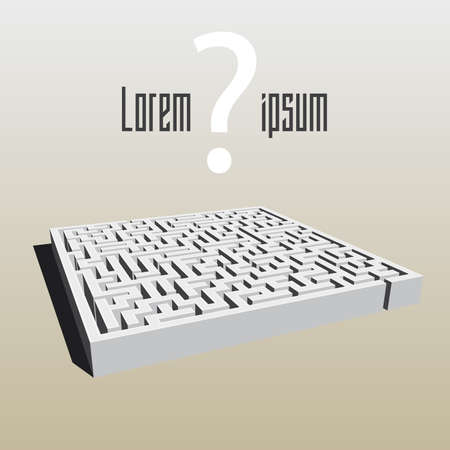 Postcard Labyrinth with question mark Çizim