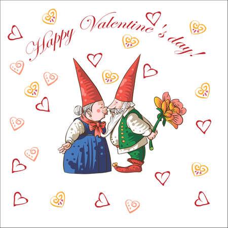 gnomos: El día de tarjeta de San Valentín con corazones y gnomos.