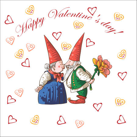 Card Happy Valentine's Day with hearts and gnomes.