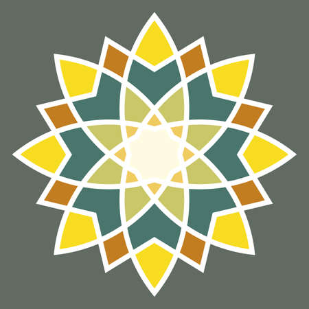 Symmetrical round ornament in yellow and green