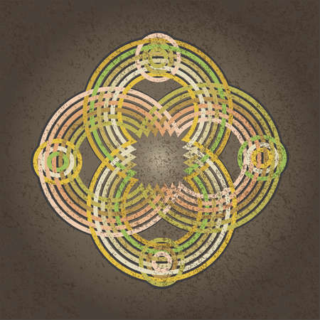 circulos concentricos: Symmetric ornament with grungy intertwined concentric circles.