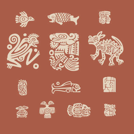 mesoamerican: Ornamental element maya on russet background