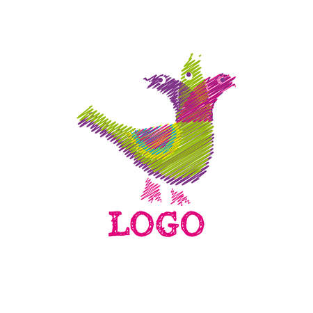 The logo with three singing birds and multicolored strokes.