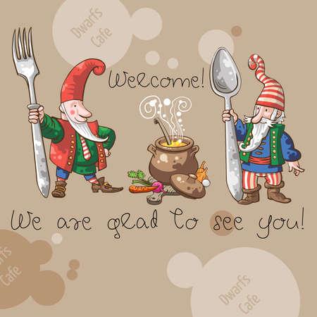gnomes: Dwarfs Cafe Welcome  invitation card Stock Photo