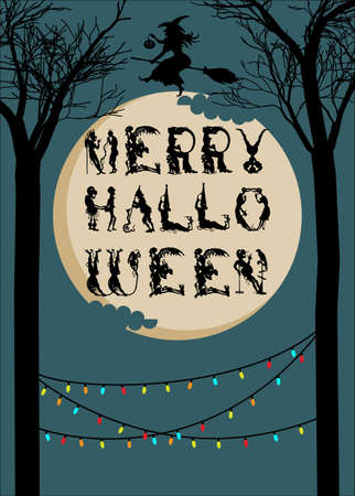 Halloween postcard or poster with garlands, decorative font, and with on broom. Stok Fotoğraf