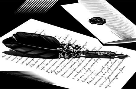 engravings: Illustration with the image of a pen and letter envelopes, made in the style of engravings.