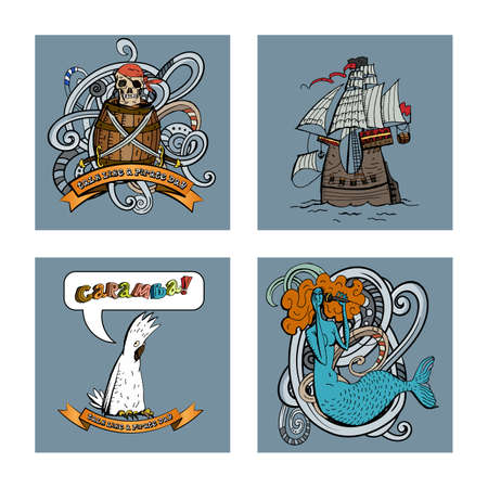 Sets with pirate motifs skull, barrel, sabers, ship, mermaid and parrot