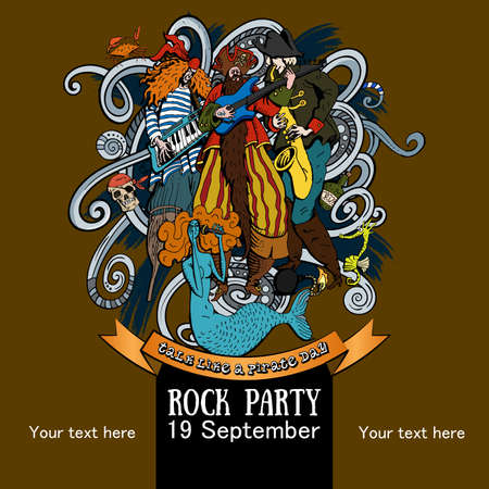 Vector Illustration Design of a poster for a rock party for a holiday Talk like a Pirate Day